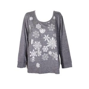 Style & Co Plus Grey Snowflake Graphic Sweatshirt